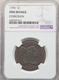 Large Cents: , 1794 1C Head of 1795 -- Corrosion -- NGC Details. Fine. Mintage 918,521. ...