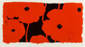 Prints & Multiples, Donald Sultan (b. 1951). Eight Poppies, 2010. Screenprint in red with black flocking on board. 20 x 36-1/4 inches (50.8 ...