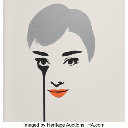 Pure Evil (b. 1968) Floating Audrey - Orange Lips, 2016 Stencil spray paint on canvas 39-1/2 x 39-1/2 x 1-1/2 inches ...