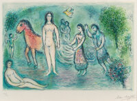 Marc Chagall (1887-1985) Homère, from L'Odyssée, 1975 Lithograph in colors on Japon Nacre