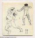 Original Comic Art:Sketches, Frank Frazetta - Two Raging Figures Sketch Original Art (undated). This sketch features two finely detailed figure studies i...