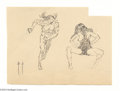 Original Comic Art:Sketches, Frank Frazetta - Caveman and Cavewoman Sketch Original Art (undated). A very detailed pen and ink study of this couple. A ri...