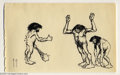 Original Comic Art:Sketches, Frank Frazetta - Cavemen with Raised Arms Sketch Original Art (undated). These three cavemen have ape-like proportions, as w...