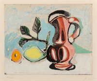 After Pablo Picasso Nature morte au citron et au pichet rouge, c. 1960 Aquatint in colors on Rives