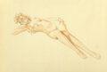 Works on Paper, Alberto Vargas (Peruvian/American, 1896-1982). Legacy Nude (Third Stage Nude) study. Watercolor on vellum. 18-1/2 x 28 i...