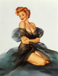 Edward Runci (American, 1921-1986) Redhead with Black Negligee Oil on canvas 26 x 20 inches (66.0