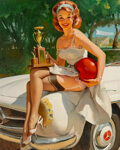 Paintings, Gil Elvgren (American, 1914-1980). Trophy Girl - A Winner, 1960. Oil on canvas. 30 x 24 inches (76.2 x 61.0 cm). Signed ...