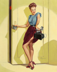 Gil Elvgren (American, 1914-1980) This Ought to Make a Good Shot (Let's Step Inside and See What's Developing)