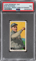 Baseball Cards:Singles (Pre-1930), 1909-11 T206 Piedmont 350 Bob Rhoads (sic Rhoades-Right Arm Extended) PSA NM 7 - Pop Two, None Higher With This Brand & Series...
