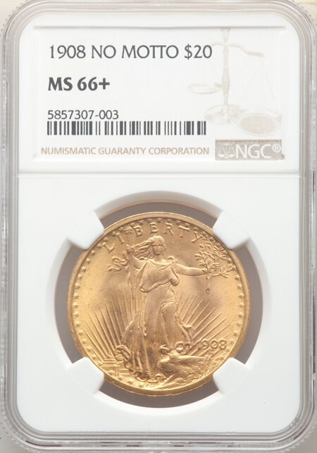 1908 $20 NO MOTTO NGC Plus 66 NGC