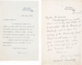 Autographs:Non-American, Winston Churchill Letter Signed ... (Total: 2 )