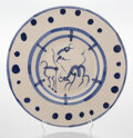 Prints & Multiples, Pablo Picasso (1881-1973). La pique, 1950. Terre de faïence dish with glazing and hand painting. 15-1/4 inches (38.7 cm)...