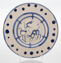 Pablo Picasso (1881-1973) La pique, 1950 Terre de faïence dish with glazing and hand painting 15-