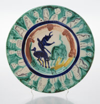 Pablo Picasso (1881-1973) Corrida aux personnages, 1950 Terre de faïence dish with glazing and hand