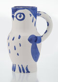 Prints & Multiples, Pablo Picasso (1881-1973). Hibou, 1954. Terre de faïence pitcher, painted in colors and glazed. 9-1/2 x 7 x 5 inches (24...