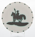 Sculpture, Pablo Picasso (1881-1973). Picador, 1952. Terre de faïence plate, painted and partially glazed. 7-5/8 inches (19.4 cm) d...