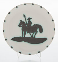 Pablo Picasso (1881-1973) Picador, 1952 Terre de faïence plate, painted and partially glazed 7-5/