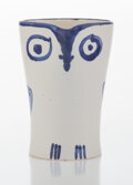 Sculpture, Pablo Picasso (1881-1973). Hibou, 1954. Terre de faïence pitcher, painted in colors and glazed. 4-3/4 x 3-3/8 x 5-1/2 in...