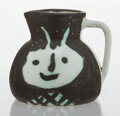 Sculpture, Pablo Picasso (1881-1973). Têtes, 1956. Terre de faïence pitcher, painted and partially glazed. 5 x 6-1/2 x 6 inches (12...