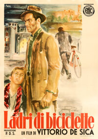 "The Bicycle Thieves (ENIC, 1948). Fine/Very Fine on Linen. Italian 4 - Fogli (55"" X 78"") Ercole Brini Artwork..."