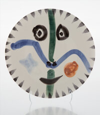 Pablo Picasso (1881-1973) Visage No. 111, 1963 Terre de faïence plate, glazed and painted 10 inch