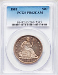 1881 50C PR63 Cameo PCGS. PCGS Population: (25/57). NGC Census: (12/64). PR63. From The Maltese Collection. ...(PCGS# 86...