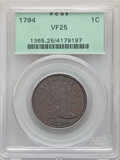 Large Cents: , 1794 1C Head of 1795 VF25 PCGS. PCGS Population: (44/254). NGC Census: (30/207). CDN: $1,650 Whsle. Bid for NGC/PCGS VF25. ...