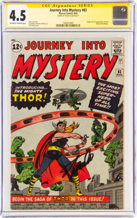 Journey Into Mystery #83 Signature Series: Stan Lee (Marvel, 1962) CGC VG+ 4.5 Off-white to white pages