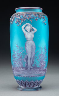 George Woodall for Thomas Webb & Sons Tricolor Cameo Glass Vase: Cloches, circa 1890 Marks: