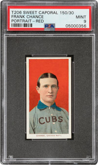 1909-11 T206 Sweet Caporal 150/30 Frank Chance (Portrait-Red) PSA Mint 9 - Pop One, None Higher With This Brand/Series/F...