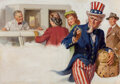 Pulp, Pulp-like, Digests and Paperback Art, Gil Elvgren (American, 1914-1980). Uncle Sam, Saturday Evening Post interior illustration. Gouache on paper. 15-1/2 x 23...