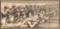 Works on Paper, Winsor McCay (American, 1871-1934). The Great War. Ink on board . 7-1/2 x 15-1/2 inches (19.1 x 39.4 cm) (sheet). Signed...