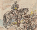 Works on Paper, Dean Cornwell (American, 1892-1960). Robert E. Lee on Horseback. Pastel and charcoal on paper. 10-7/8 x 13-1/8 inches (2...