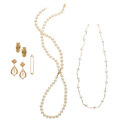 Estate Jewelry:Lots, Cultured Pearl, Gold Jewelry Lot . ... (Total: 5 Items)