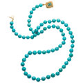 Estate Jewelry:Necklaces, Turquoise, Gold Necklace . ...