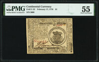 Continental Currency February 17, 1776 $1 PMG About Uncirculated 55