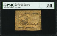 Continental Currency May 10, 1775 $6 PMG About Uncirculated 50