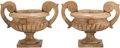 Furniture, A Pair of Italian Carved Sienna Marble Two-Handled Tazze. 38 x 19-1/4 x 16-1/2 inches (96.5 x 48.9 x 41.9 cm) (each). ... (Total: 2 Items)