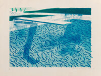 David Hockney (b. 1937) Lithographic Water Made of Lines, Crayon, and Two Blue Washes, 1978-80 Litho