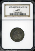 Seated Quarters: , 1853 Arrows and Rays AU55 NGC. ...