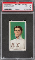 Baseball Cards:Singles (Pre-1930), 1909-11 T206 Sweet Caporal 350/30 Jake Weimer PSA NM-MT 8 - Pop One, None Higher With This Brand/Series/Factory Combination. ...