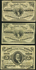 Fractional Currency:Third Issue, Fr. 1226 3¢ Third Issue Two Examples Very Fine or Better;. Fr. 1239 5¢ Third Issue About New.. ... (Total: 3 notes)