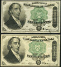 Fr. 1379 50¢ Fourth Issue Dexter Two Examples Very Fine-Extremely Fine or Better