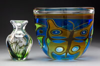 Two Swedish Graal Glass Vases, 20th century Marks: (various) 8-5/8 inches (21.9 cm) (tallest)  VALERIO CO