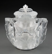 Lalique Glass and Chrome Chêne Wall Sconce, post-1945 Marks: Lalique®, France<