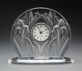 Clocks & Mechanical, Lalique Clear and Frosted Glass Iris Clock, post-1945. Marks: Lalique®, France. 6-1/2 inches (16.5 cm). ...