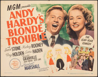 "Andy Hardy's Blonde Trouble (MGM, 1944). Folded, Fine+. Half Sheet (22"" X 28"") Style B. Comedy"