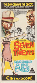 "Movie Posters:Crime, Seven Thieves (20th Century Fox, 1959). Folded, Very Fine+. Australian Daybill (13"" X 30""). Crime.. ..."