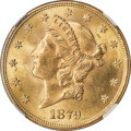 Liberty Double Eagles, 1879 $20 Doubled Die Reverse, FS-801, MS65 NGC....