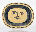 Prints & Multiples, Pablo Picasso (1881-1973). Visage gravé, fond grège, 1947. Terre de faïence dish, glazed and painted. 12-1/4 x 15-1/4 in...